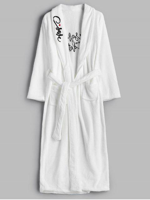 unique Embroidery Flannel Robe - WHITE L Mobile