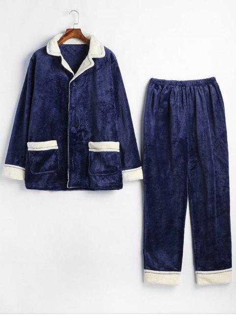 fancy Flannel Pockets Lapel Collar Pajamas Set - BLUE XL Mobile
