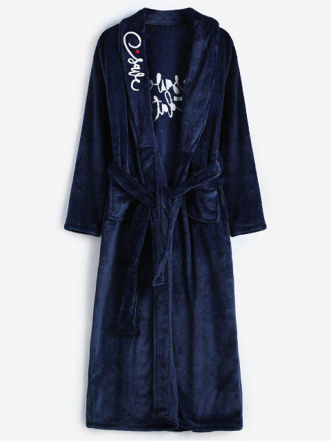 women Embroidery Flannel Robe - BLUE XL Mobile