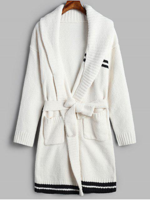 latest Stripe Knitted Longline Cardigan Fuzzy Pajamas Set - WHITE ONE SIZE Mobile