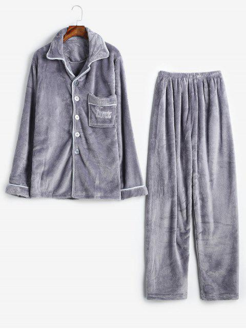 fashion Letter Buttons Flannel Fuzzy Pajamas Set - GRAY XS Mobile