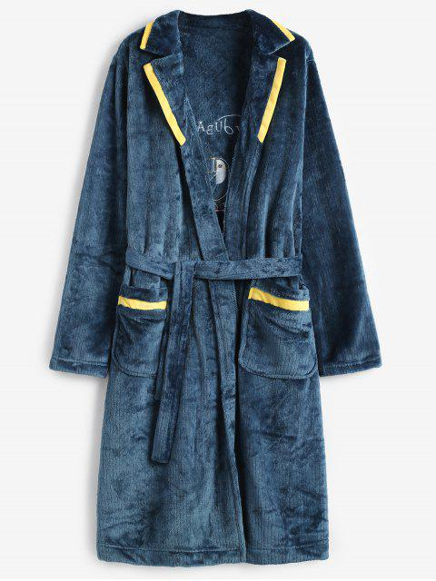 unique Graphic Embroidery Flannel Fuzzy Belted Robe - PEACOCK BLUE L Mobile