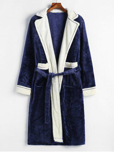 chic Lapel Collar Pockets Colorblock Flannel Robe - BLUE L Mobile