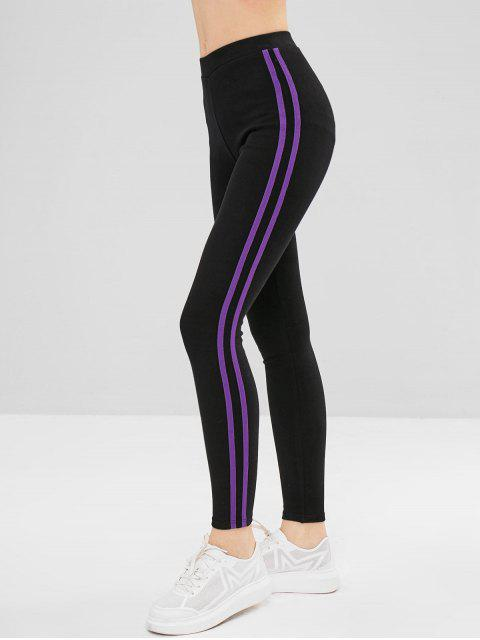 buy Stripe Trim Elastic Thick Leggings - PURPLE ONE SIZE Mobile