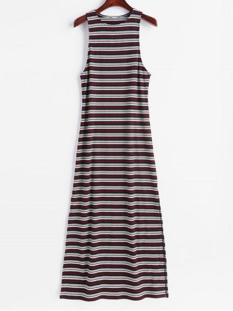 outfit ZAFUL Sleeveless Stripes Slit Maxi Dress - MULTI S Mobile