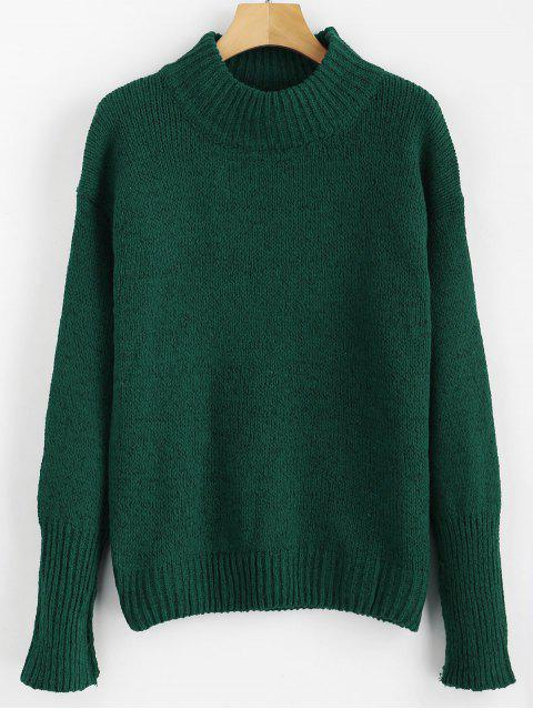 online Mixed Yarn Sweater - DARK FOREST GREEN ONE SIZE Mobile