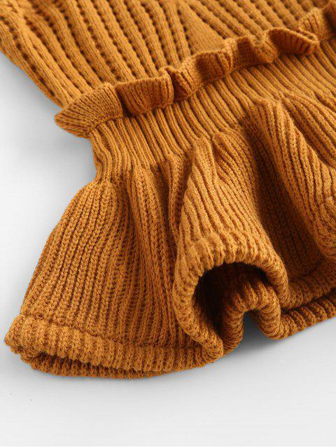 best Frilled Openwork Sweater Vest - ORANGE GOLD ONE SIZE Mobile