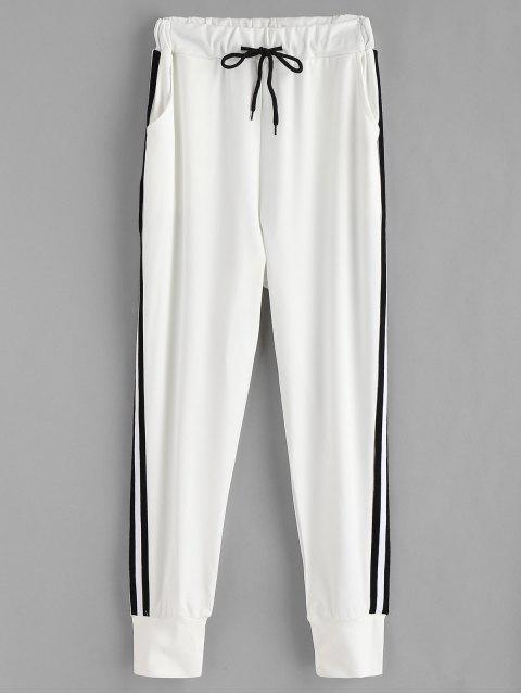 Pantalones de chándal de raya lateral - Blanco L Mobile