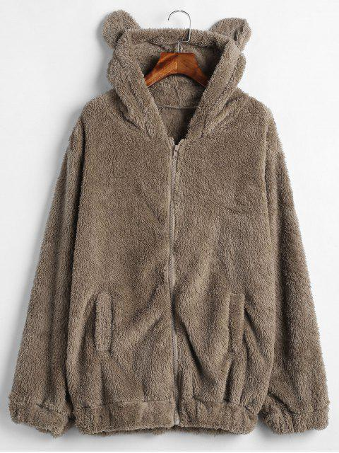 shop Zip Up Bear Fuzzy Coat - BROWN BEAR ONE SIZE Mobile