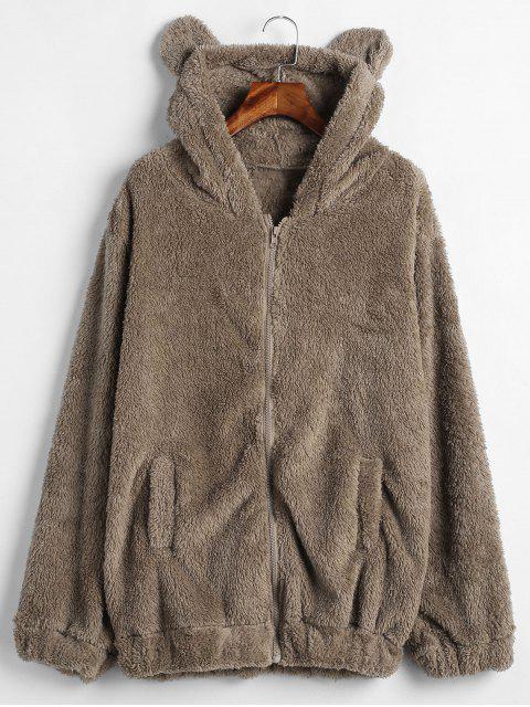 Zip Up Bear Fuzzy Coat - Oso Café Única Talla Mobile