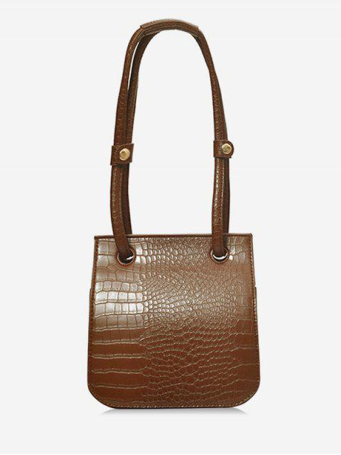 women Artificial Leather Design Magnetic Snap Shoulder Bag - COFFEE  Mobile