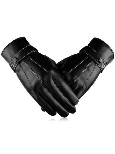 unique Outdoor Line Embroidery Full Finger Gloves - BLACK  Mobile