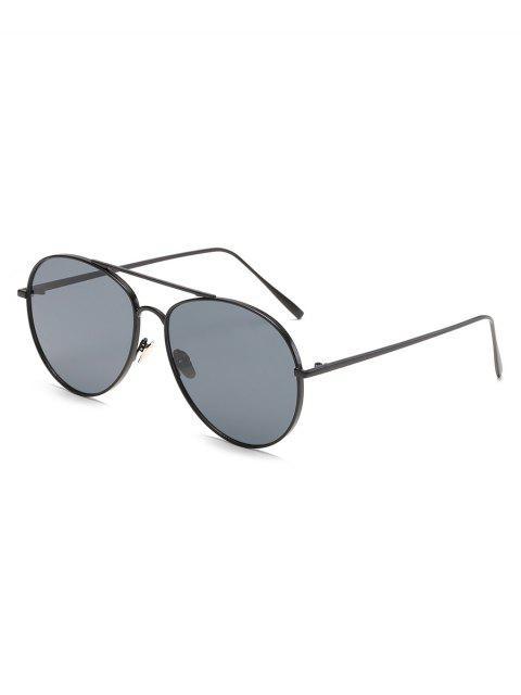 trendy Crossbar Frame Unisex Mirrored Sunglasses - BLACK  Mobile