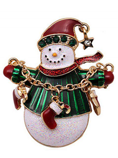 sale Christmas Snowman Socks Design Brooch - GOLD  Mobile