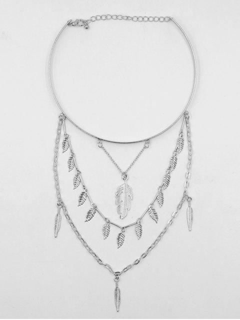 chic Feather Shape Leaves Tassel Choker Necklace - SILVER  Mobile