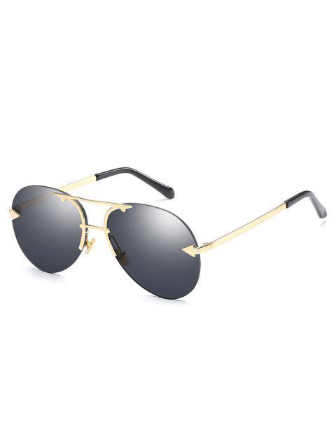 chic Alloy Embellished Rimless Pilot Sunglasses - BLACK  Mobile
