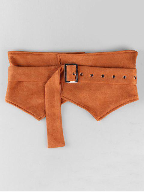 shop Adjustable Knotted Suede Wide Belt - TIGER ORANGE  Mobile