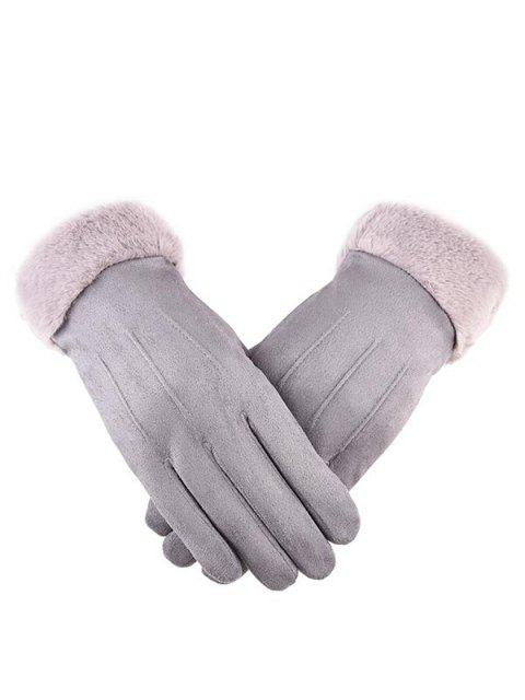 women Outdoor Full Finger Suede Pink Gloves - GRAY CLOUD  Mobile