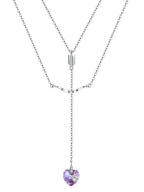 shop Double Layered Heart Pendant Necklace - MULTI-A  Mobile
