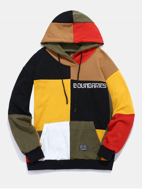 outfit Color Block Patchwork Letter Hoodie - MULTI L Mobile