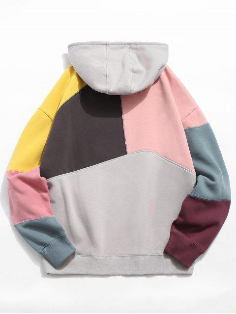 womens Colorblock Sewing Patchwork Fleece Hoodie - LIGHT PINK XL Mobile