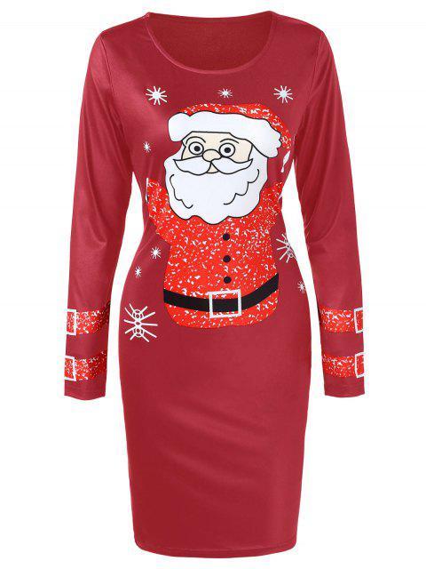 Christmas Santa Claus Printed Bodycon Dress - 紅酒 M Mobile