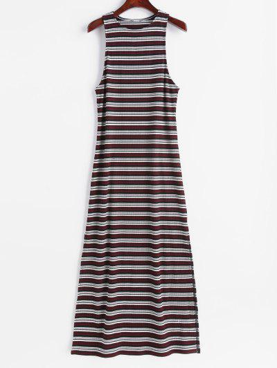 ZAFUL Sleeveless Stripes Slit Maxi Dress - Multi S