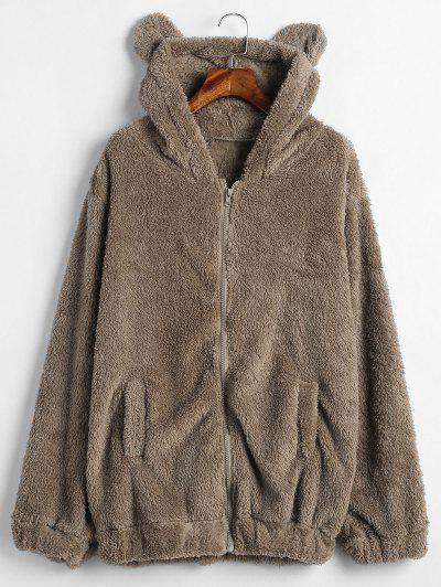 Zip Up Bear Fuzzy Coat - Brown Bear