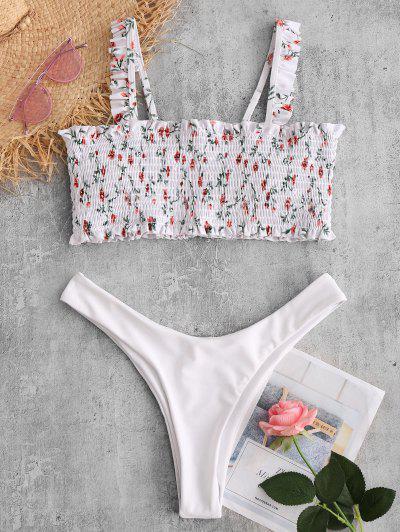 2ddbd9d73f766 ZAFUL Floral Shirred Ruffle Bikini Set - White White S S