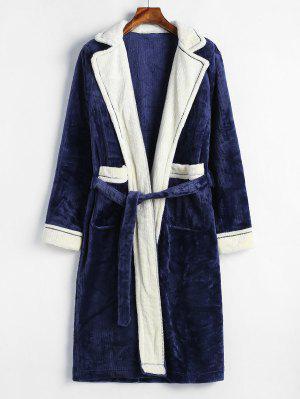 Reverskragen-Taschen Colorblock Flanell-Robe
