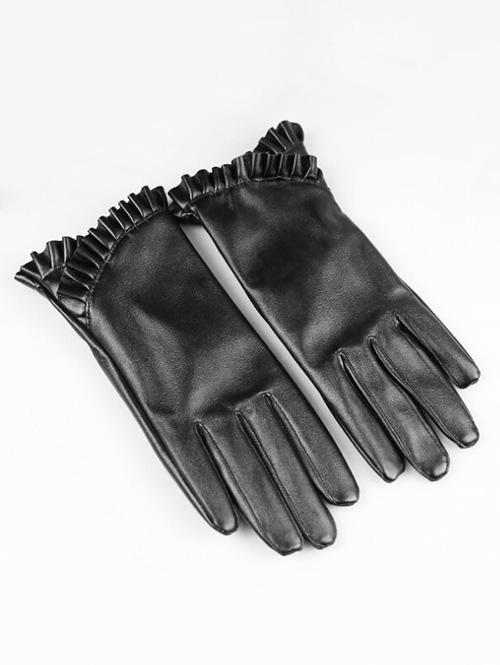 Retro Full Finger Faux Leather Gloves 341517201