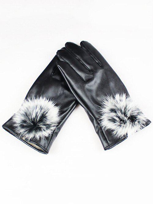 Full Finger Faux Leather Fur Gloves 341539601