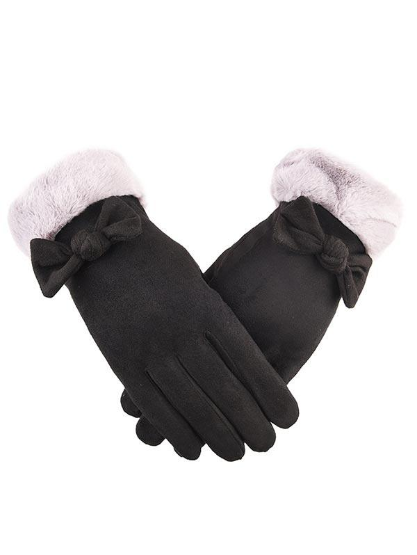 Bowknot Full Finger Suede Gloves, Black