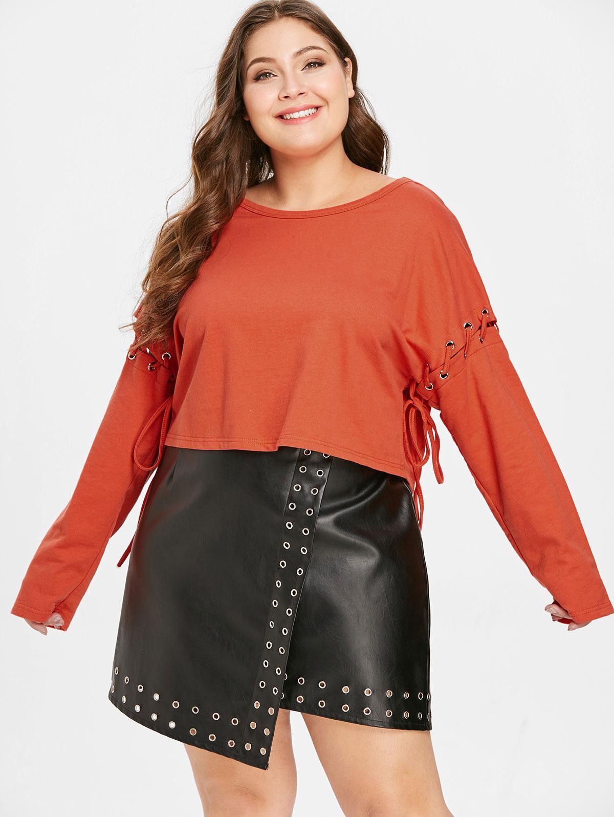 ZAFUL Plus Size Lace-up Drop Shoulder Sweatshirt thumbnail