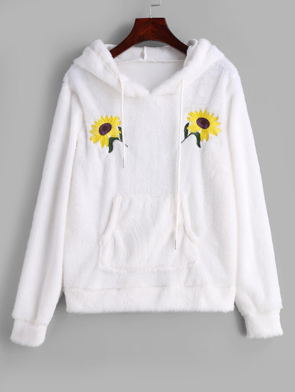 Flower Embroidered Front Pocket Fluffy Hoodie