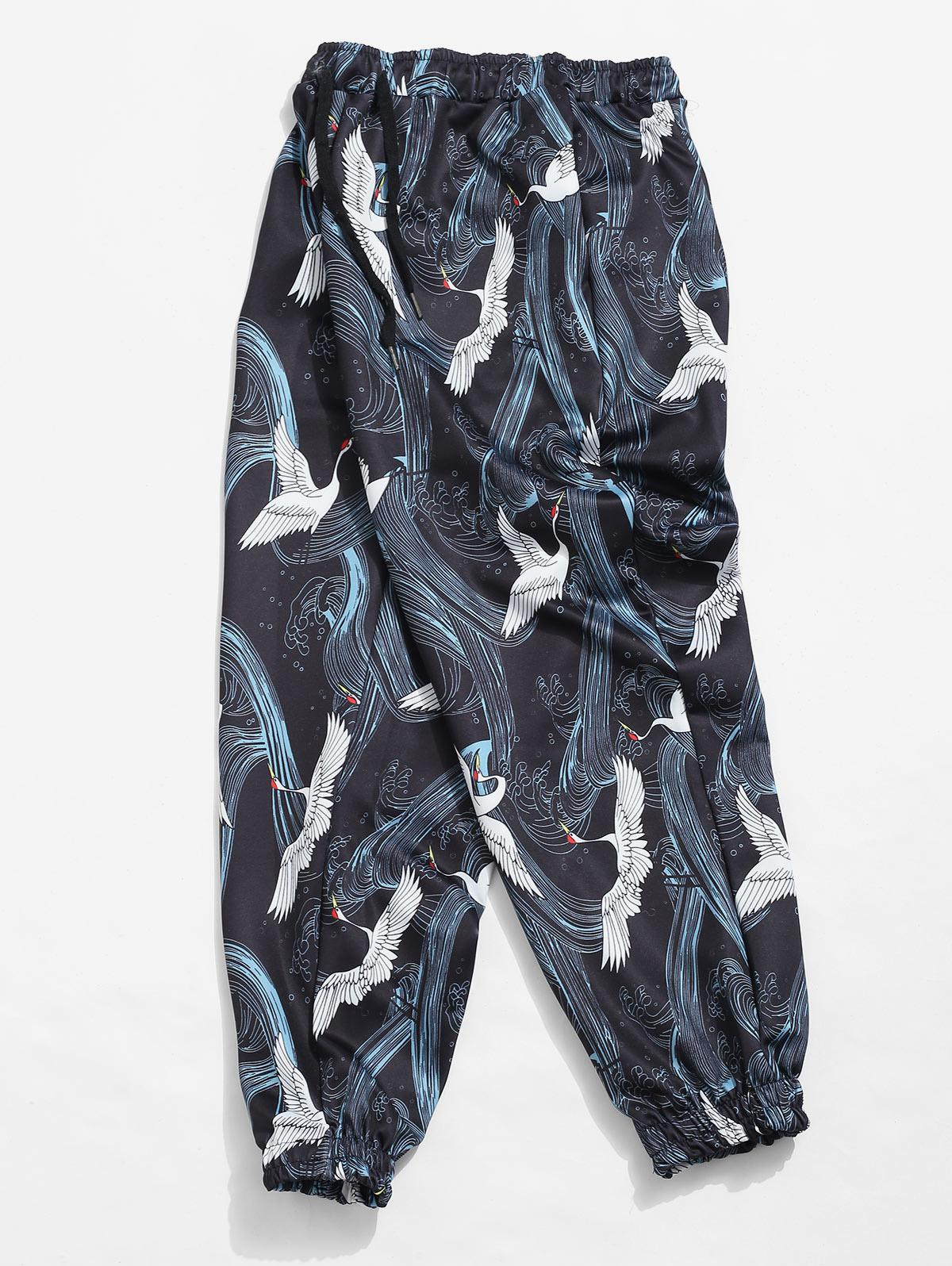 Crane and Wave Printed Jogger Pants