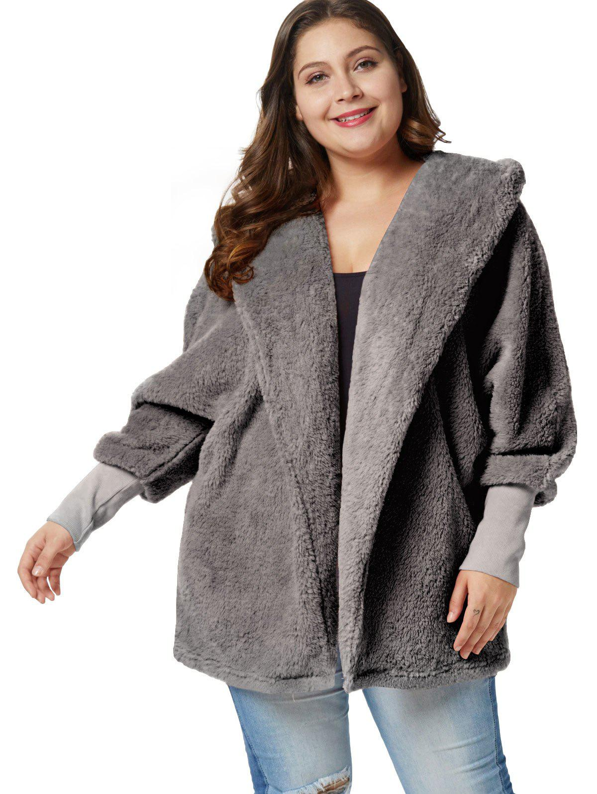 Plus Size Fluffy Hooded Tunic Coat фото