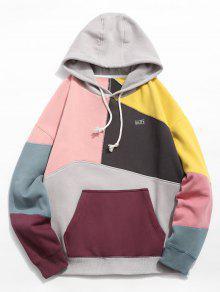 Colorblock الخياطة المرقعة الصوف هوديي - وردي فاتح M