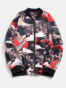 اليابانية كرين زهرة طباعة خفيفة سترة - أحمر M