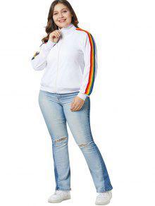 3886709dc2d 28% OFF  2019 Rainbow Trim Plus Size Zip Jacket In WHITE 3X