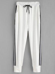 Side Stripe Patch Jogger Pants - أبيض M