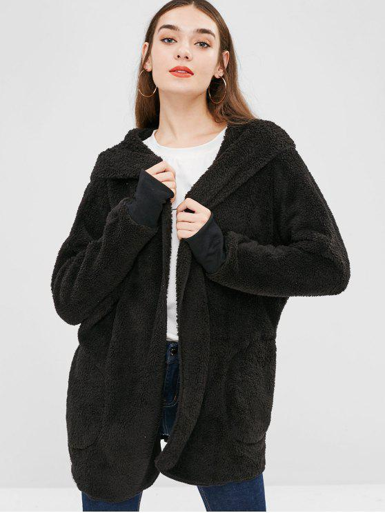 womens Solid Color Hooded Fluffy Teddy Coat - BLACK S