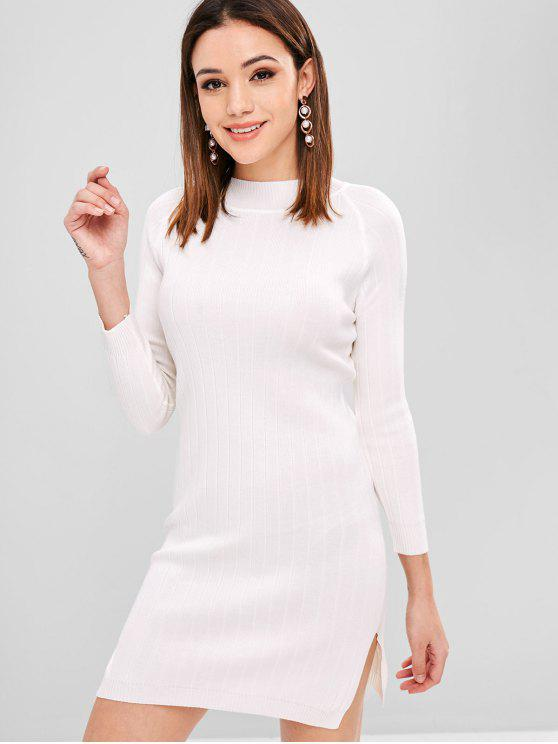 women's Side Slit Jumper Dress - WHITE ONE SIZE