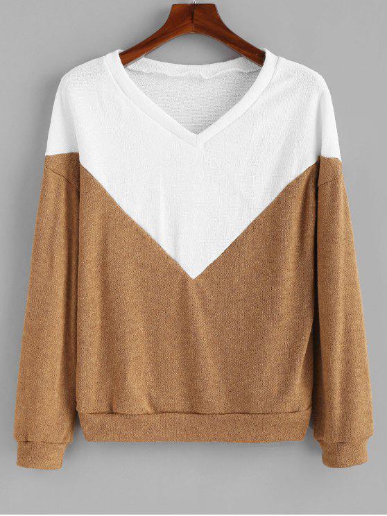 3c4b348c8d60 2019 Two Tone Knit Drop Shoulder Sweater In DARK KHAKI XL