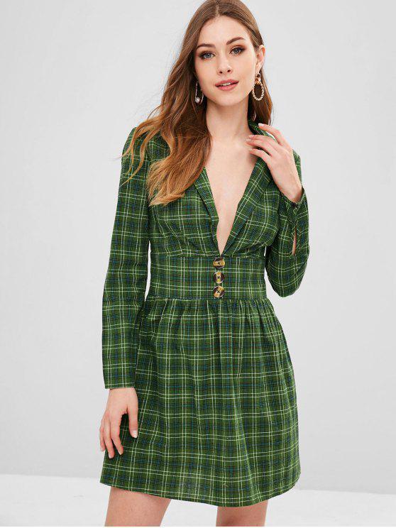 Mini vestido a cuadros de solapa con corte bajo de solapa ZAFUL - Bosque Verde Mediana M