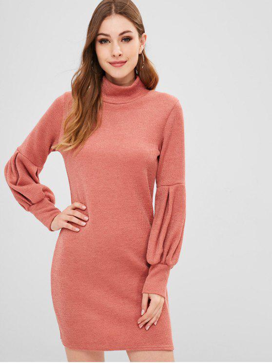 Vestido de suéter liso mangas linterna - Rosa Naranja S