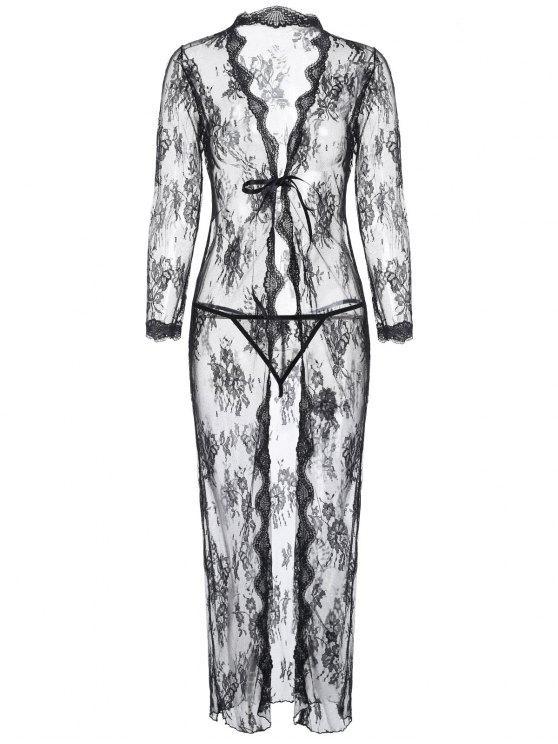 Floral Lace überbacken Longline Dessous Robe - Schwarz Eine Größe
