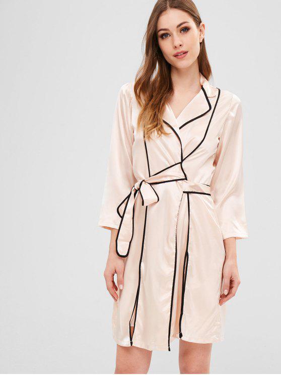 Slit-Robe aus Satin mit Gürtel - Antiquität Weiß L