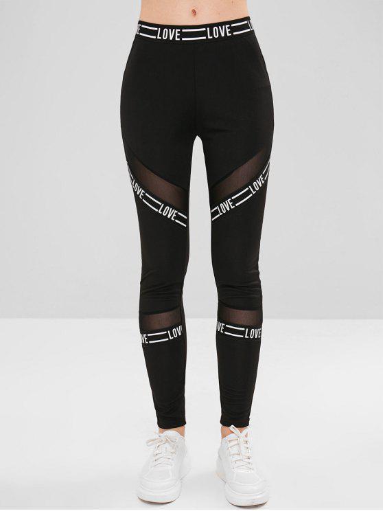 Calças justas de malha com painéis leggings - Preto L