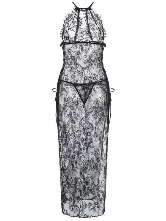 High Slit Lace schiere Maxi Dessous Kleid - Schwarz Eine Größe